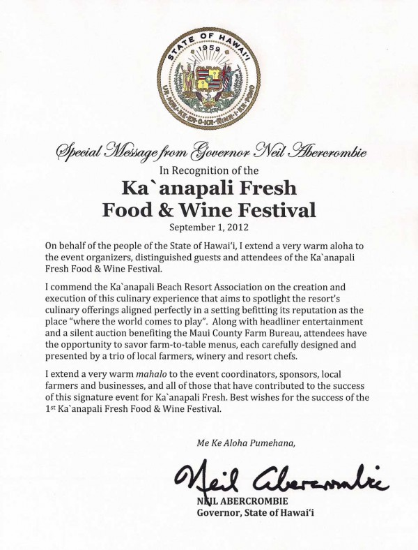 Special Message from Governor Neil Abercrombie In Recognition of the Ka'anapali Fresh Food & Wine Festival